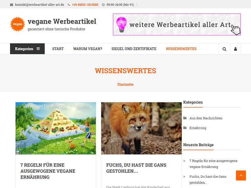 Newsübersicht von werbeartikel-vegan.de